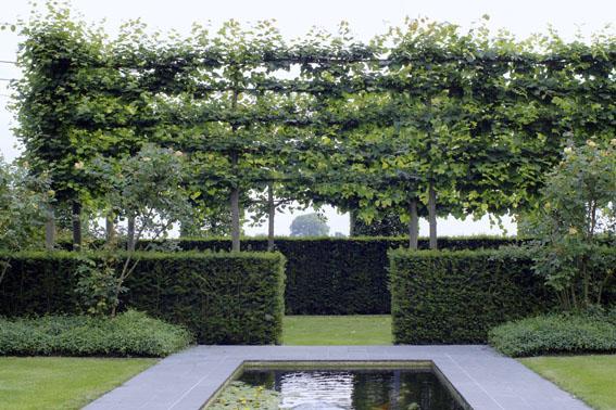 Tuin omheen een klassiek villa een bloementuin buxus en taxushagen omkadert de woning de - Massief idee van tuin ...